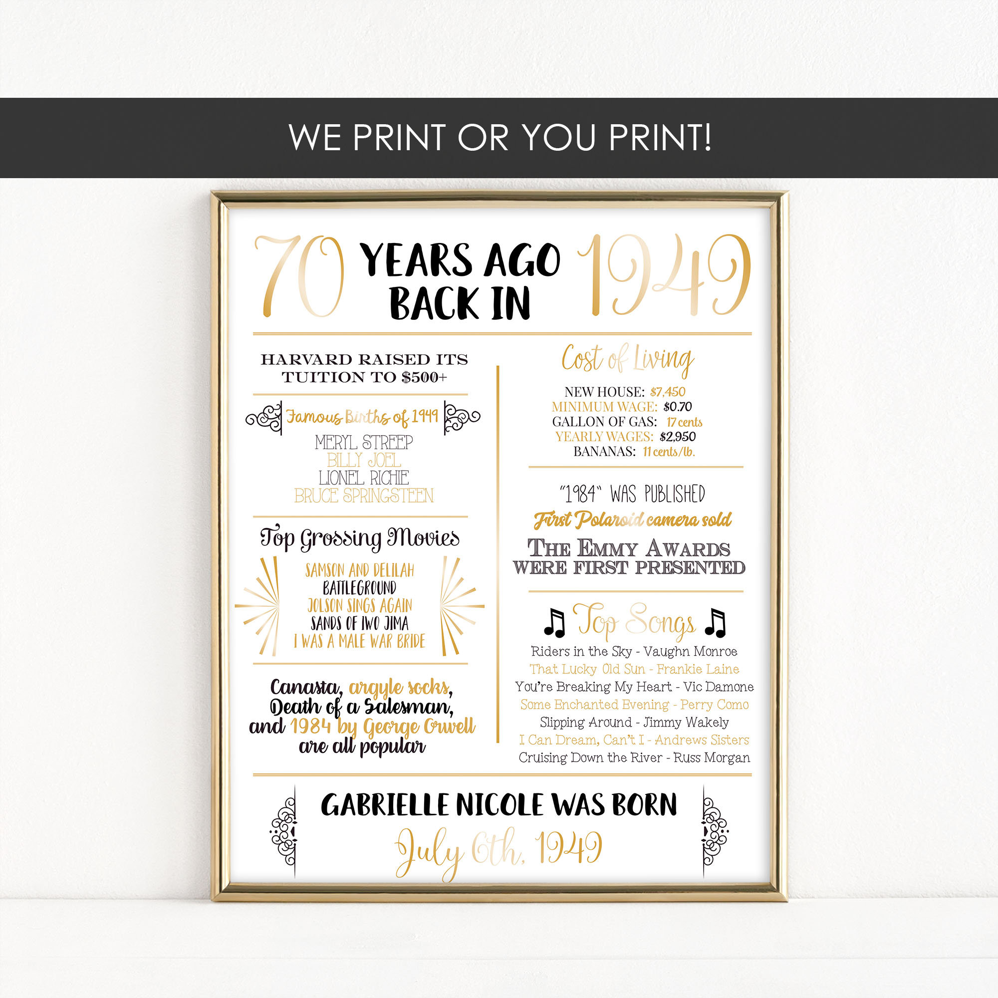 Printable 70th Birthday Milestone Sign Back In 1949 Gift Poster Digital Download MB060