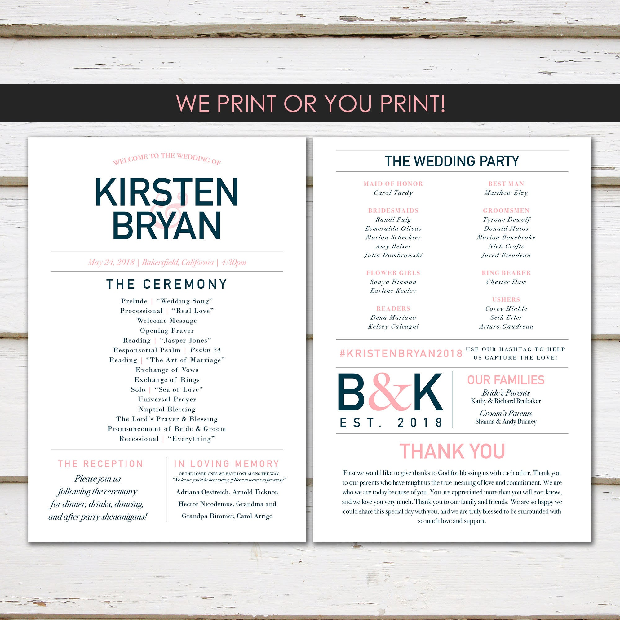 Fun Infographic Wedding Program Unique Modern Entertaining Facts Printable Or PRINTED MB350