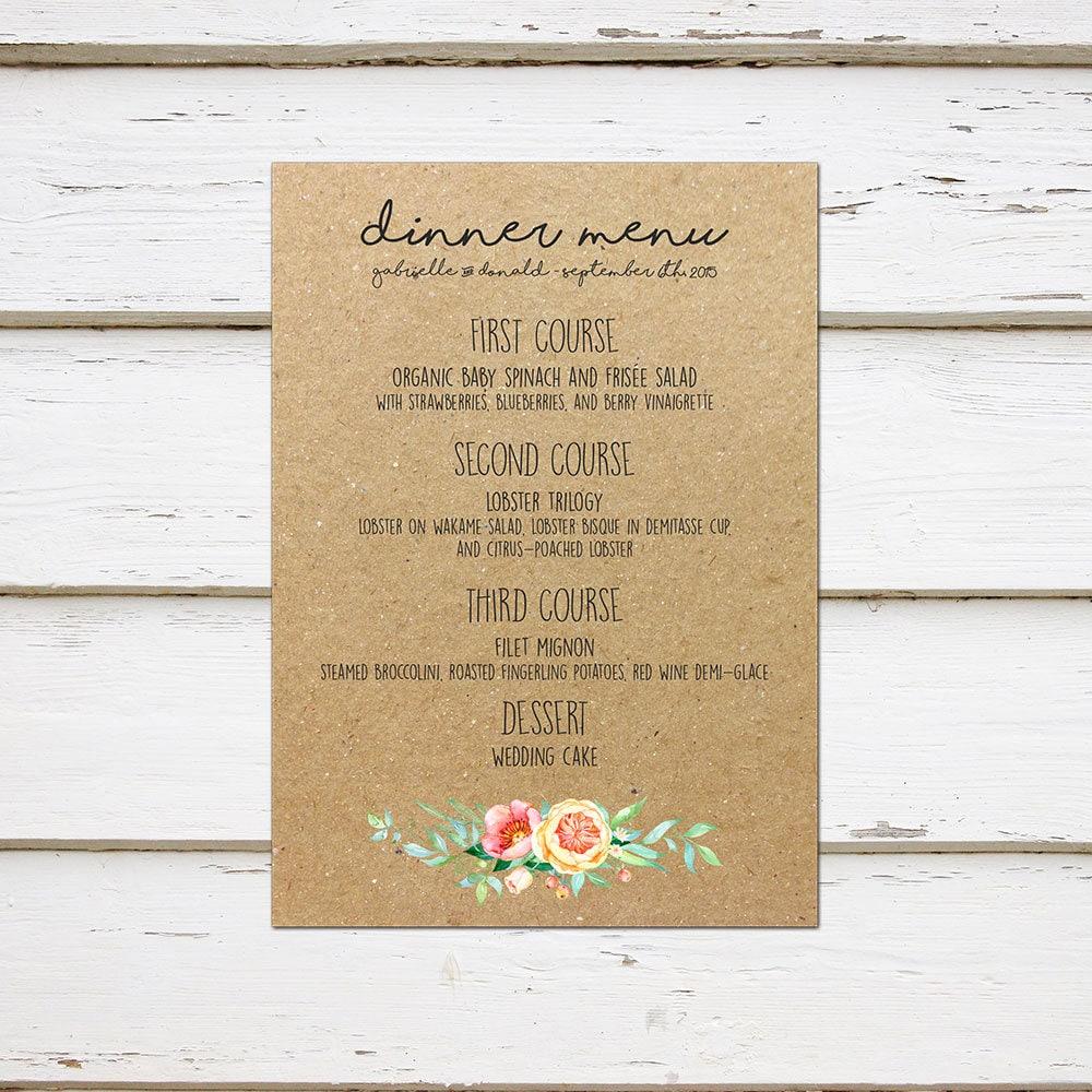 printable rustic wedding menu kraft paper menu template chic