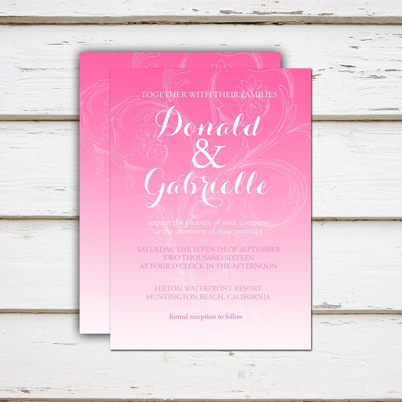 Printable Pink Wedding Invitation Ombre Paisley Gradient Soft