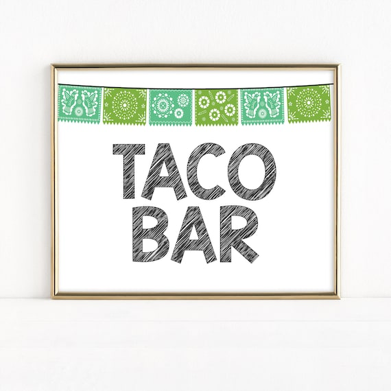 photograph about Papel Picado Printable named Printable Cinco de Mayo Taco Bar Indicator, Fiesta Occasion, Papel