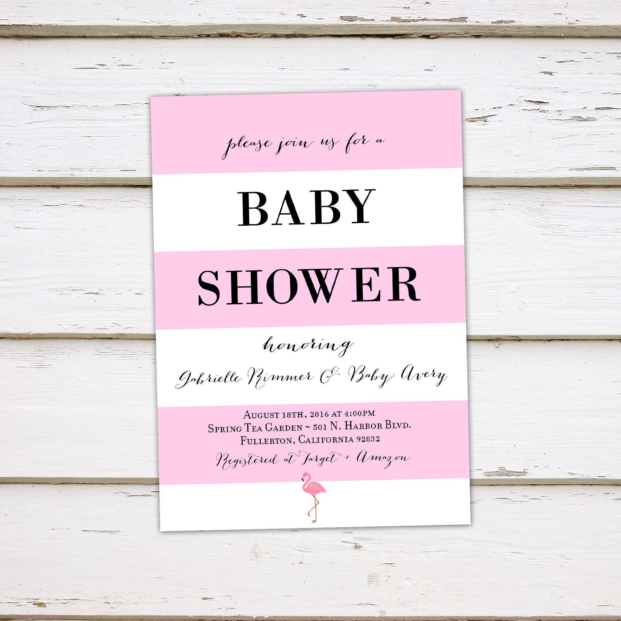 Printable Baby Shower Invitation, Tropical, Flamingo, Pink Black ...