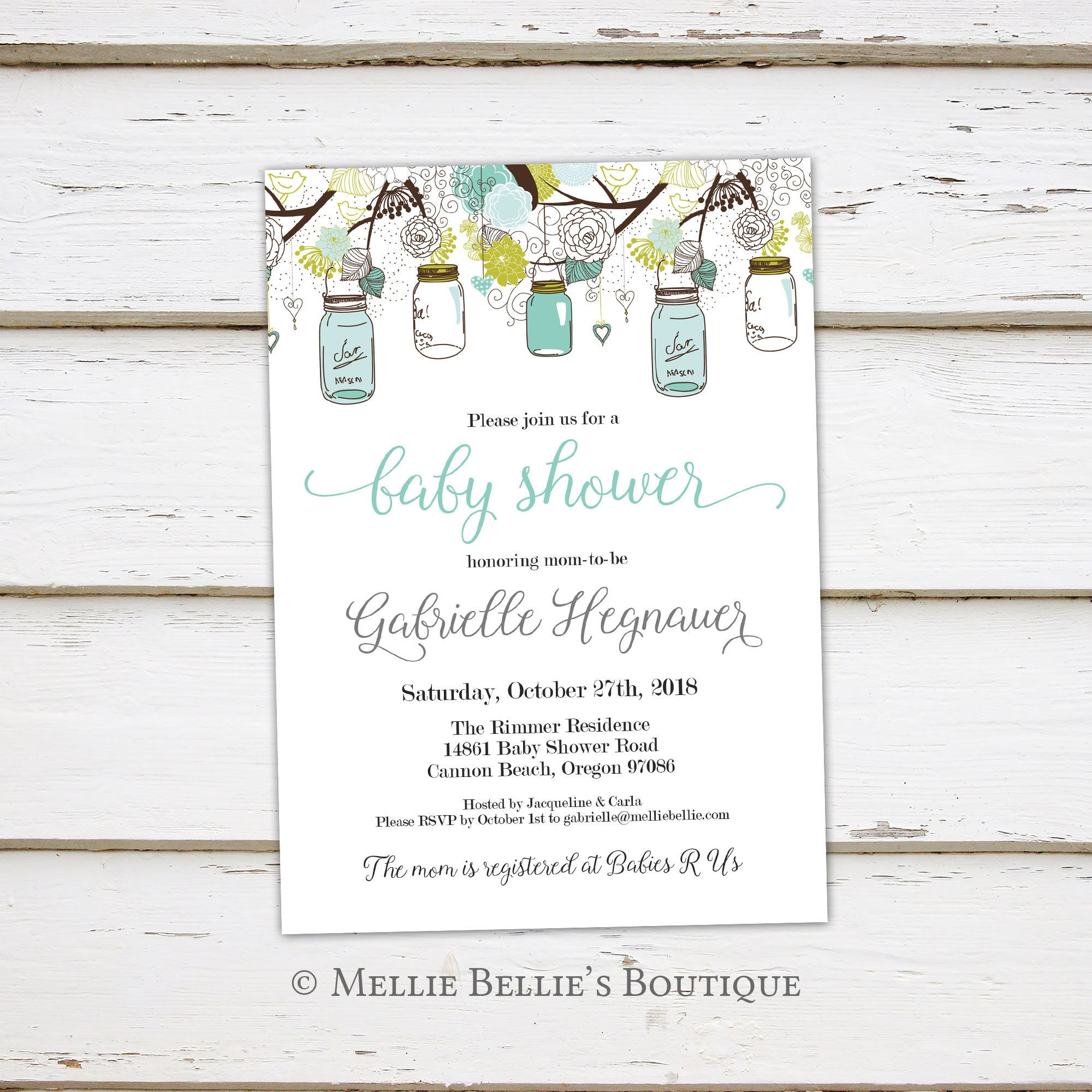 Printable Blue Green Mason Jar Baby Shower Invitation Rustic Baby