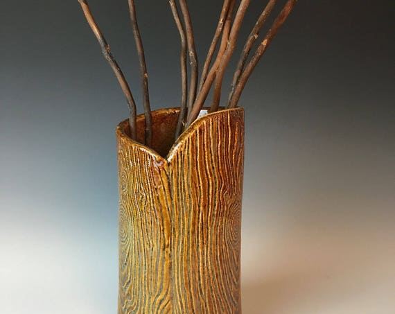 Pottery faux woodgrain vase