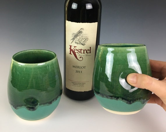 Emerald City Green Pottery wine glasses, set of two