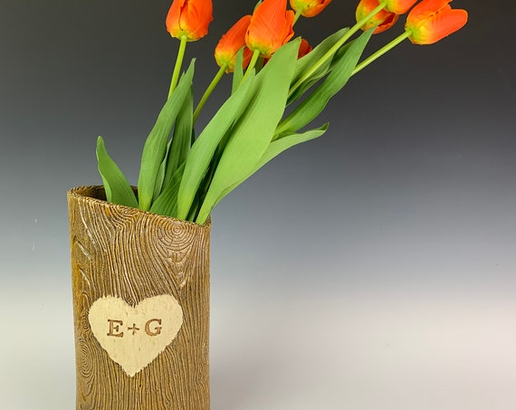 Custom text Woodgrain vase, carved initials