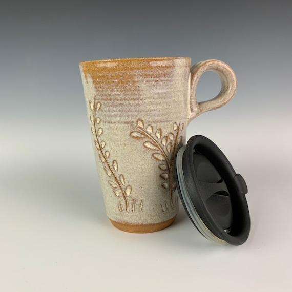 White Pottery travel Mug