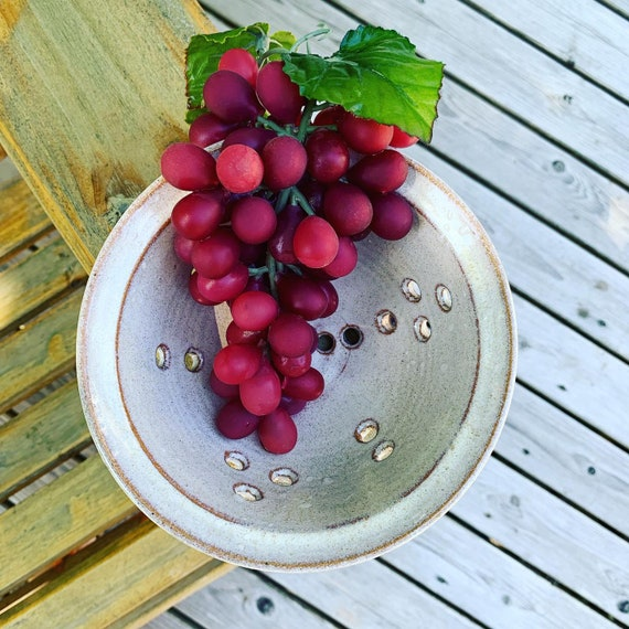 Pottery colander berry bowl, rustic white berry bowl, pottery strainer, berry bowl, ceramic colander, handmade