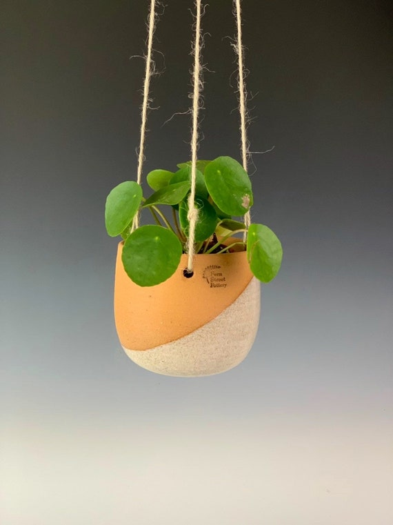 Hanging Planter, pottery succulent planter, ceramic hanging planter, white and burnt orange