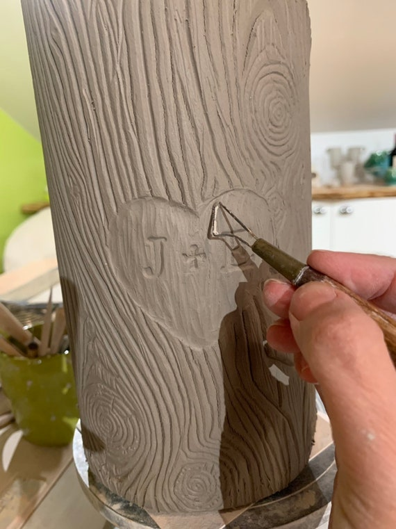 Custom text Woodgrain vase, carved initials