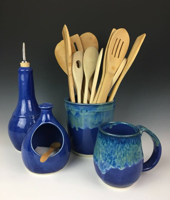 Olive Oil Cruet in Cobalt Blue