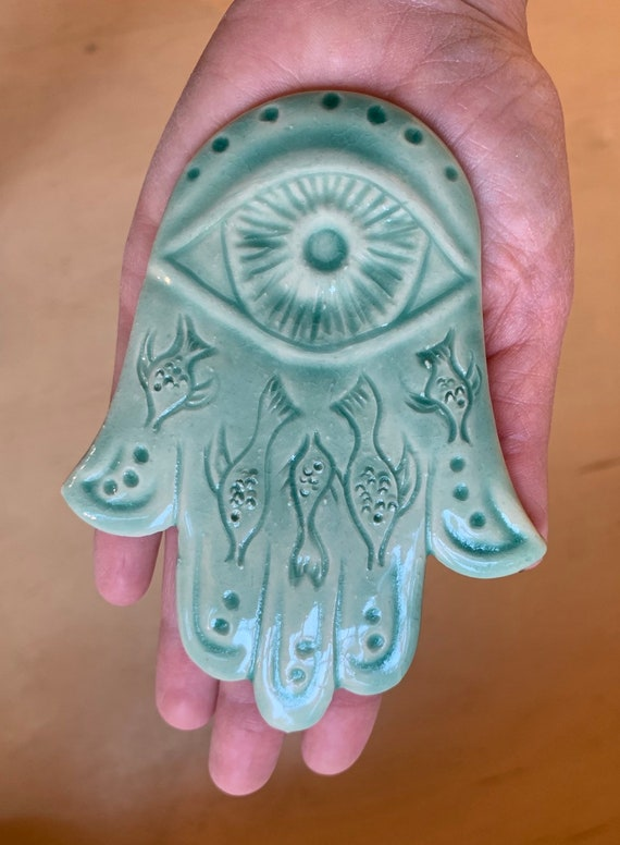 Hamsa Wall hanging, Fish carving, Chanukkah gift, evil eye protection, Judaica, fatima, Celadon green