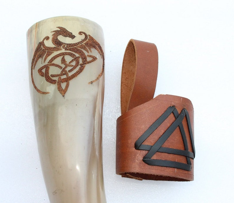Viking Re-Enactment Dragon Design Carved Drinking Horn