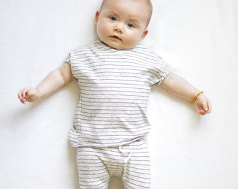 Baby shirt and pants set, Harem pants, Short sleeve tee, cream and black set, Modern cothes