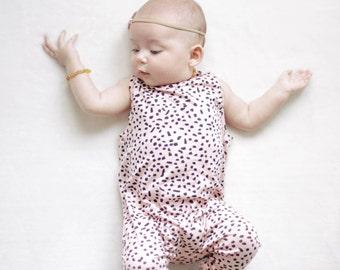 Harem style romper, Pink Spots Romper, Tank Romper, Minimalist Clothes