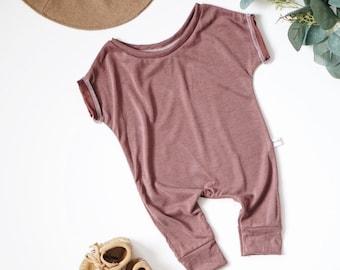 Harem style romper, Plum Romper, Minimalist Clothing