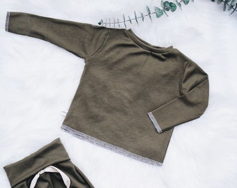 Baby Unisex shirt and pants set, Harem pants, Long sleeve tee, Pine green Ribbed set, Modern cothes