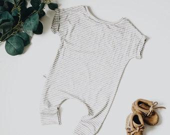 Harem style romper, Grey and White Romper, Minimalist Clothing