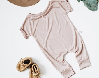 Harem style romper, Blush Romper, Minimalist Clothing