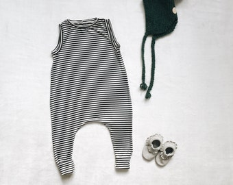 Harem style romper, Black and White Romper, Minimalist Clothes