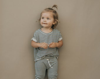 Baby Boxy Tee, Modern Baby Clothing, Charcaol and white Tee, Unisex tee
