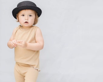 Baby Unisex tank and pants set, Harem pants,going home outfit, Sand set, Modern cothes