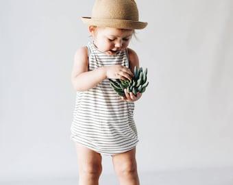 Kids playsuit, Pin Striped romper, Summer Romper, Minumalist clothing