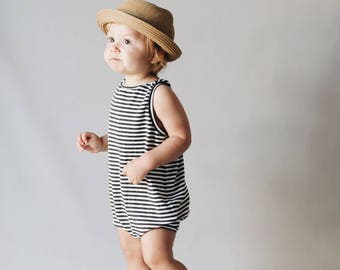 Kids playsuit, Dark Grey and white romper, Summer Romper, Minumalist clothing