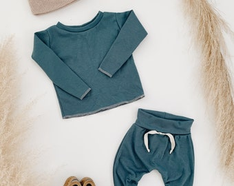 Baby Unisex shirt and pants set, Harem pants,going home outfit, Sea set, Modern clothes