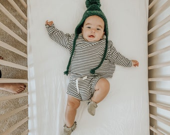 Baby Sweatshirt and shorts set, Oversized sweater and shorties ,Striped Terry set, Modern clothes
