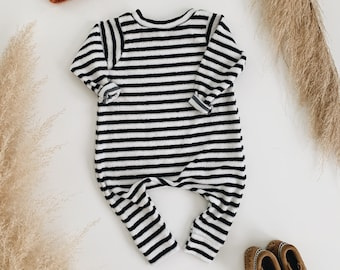 Harem style romper, Striped Terry Romper, Long Sleeve Romper, Minimalist Clothing
