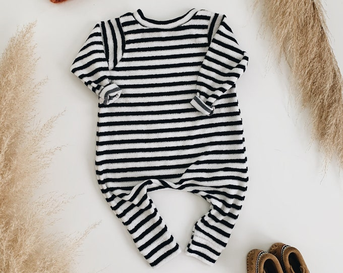 Featured listing image: Harem style romper, Striped Terry Romper, Long Sleeve Romper, Minimalist Clothing