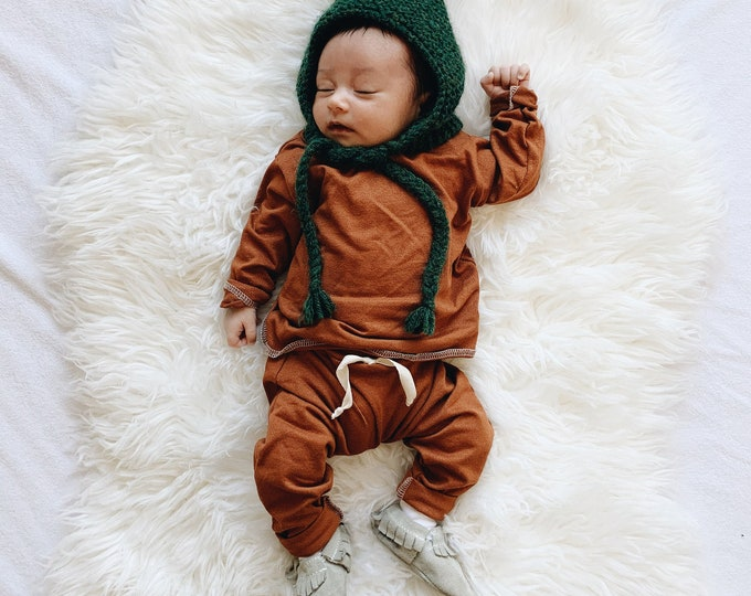 Featured listing image: Baby Unisex shirt and pants set, Harem pants, Long sleeve tee,  Bryce Set, Modern cothes