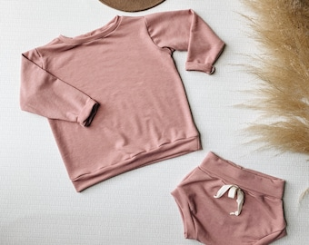 Baby Sweatshirt and shorts set, Oversized sweater and shorties , Pink Ice set, Vintage Set, Modern clothes