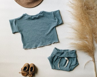 Baby Unisex shirt and pants set, Oversized tee and shorties ,Midnight Blue Vintage set, Modern clothes