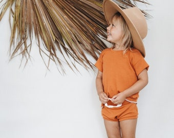 Baby Unisex shirt and pants set, Oversized tee and shorties , Rust set, Modern clothes