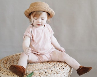 Baby Unisex shirt and pants set, Oversized tee and shorties , Blush Pink  set, Modern clothes