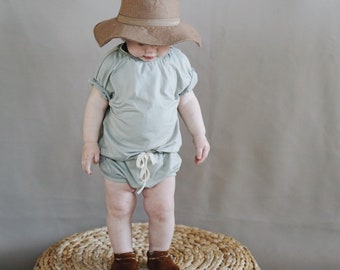 Baby Unisex shirt and pants set, Oversized tee and shorties , Sage set, Modern clothes