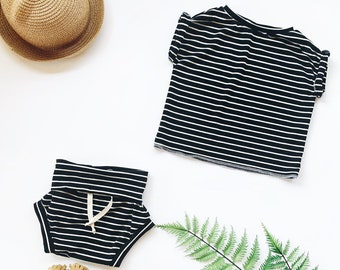 Baby Unisex shirt and pants set, Oversized tee and shorties , Striped set, Modern clothes