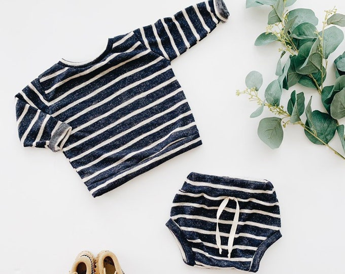 Featured listing image: Baby Unisex shirt and pants set, Oversized sweater and shorties , Navy Stripe set, Modern clothes