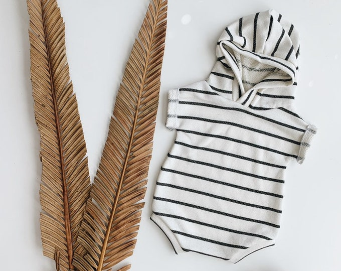 Featured listing image: Kids playsuit, Summer Romper, Minimalist clothing, Grey Stripes Playsuit