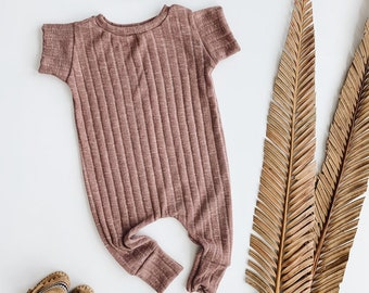 Harem style romper, Dusty Rose   Romper,  Ribbed Romper, Minimalist Clothes