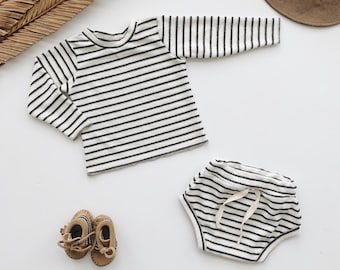 Baby Unisex shirt and pants set, Oversized sweater and shorties , Striped Terry set, Modern clothes