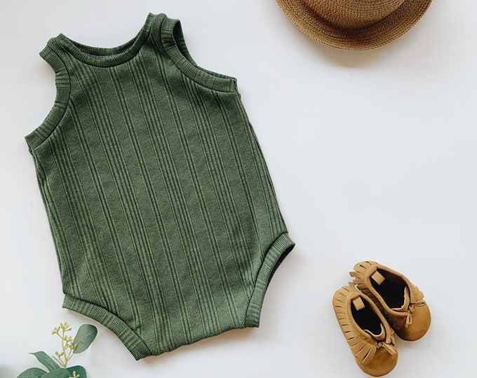 Featured listing image: Kids playsuit, Green Ribbed  romper, Summer Romper, Minumalist clothing