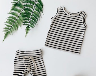 Baby Unisex tank and pants set, Harem pants,going home outfit, Oatmeal Stripe set, Modern cothes