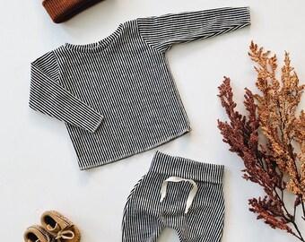 Baby Unisex shirt and pants set, Harem pants, Long sleeve tee, Charcoal Stripe Knit Set, Modern clothes