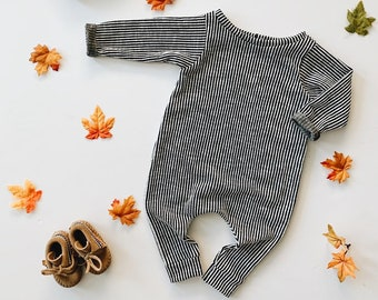 Harem style romper, Charcoal Stripe Romper, Long Sleeve Romper, Minimalist Clothing