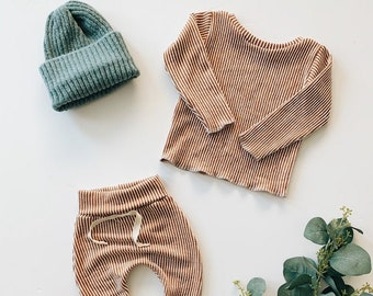 Baby Unisex shirt and pants set, Harem pants, Long sleeve tee, Pumpkin Stripe Knit Set, Modern cothes