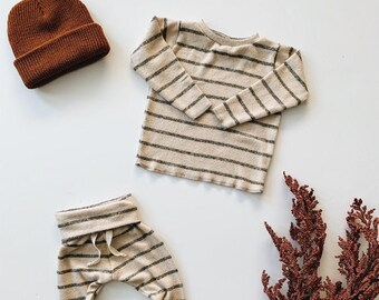 Baby Unisex shirt and pants set, Harem pants, Long sleeve tee, Oatmeal Stripe Knit Set, Modern cothes
