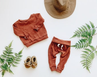 Baby Unisex shirt and pants set, Harem pants, Long sleeve tee,  Zion Set, Modern cothes